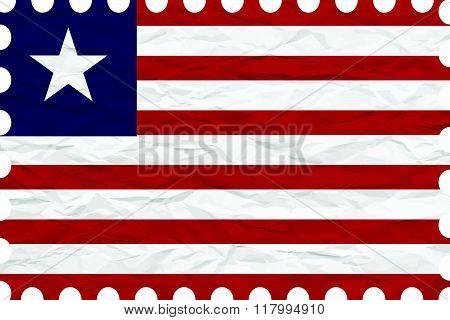 Wrinkled Paper Liberia Stamp