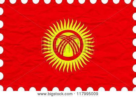 Wrinkled Paper Kyrgyzstan Stamp