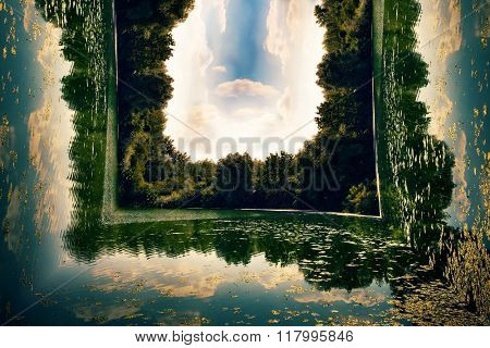 small lake with green forest around and blue sky with clouds, summer time, bend photo manipulation