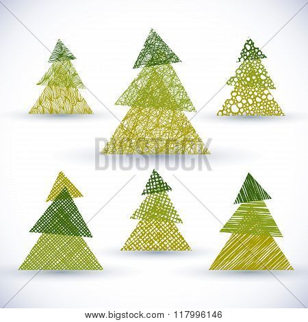 Set of vector hand drawn Christmass trees made using lines textures.