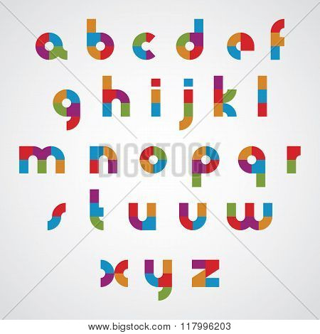 Colorful Sectored Font With Rounded Lower Case Letters.
