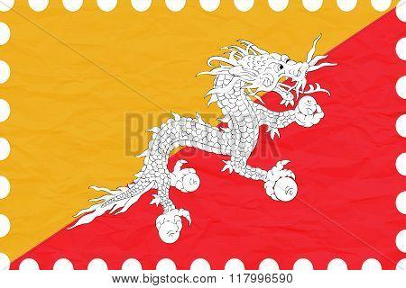 Wrinkled Paper Bhutan Stamp