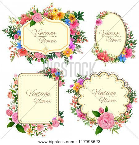illustration of watercolor Vintage floral frame