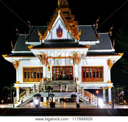 Thai temple at night. Phuket island.