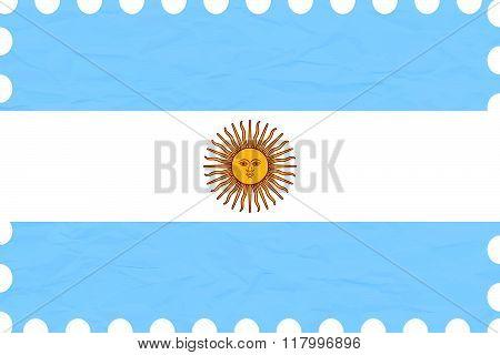 Wrinkled Paper Argentina Stamp