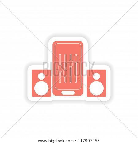 paper sticker on white background mobile phone music speakers