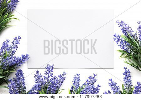 Artifical Lavender Flowers And Blank Paper Mockup.