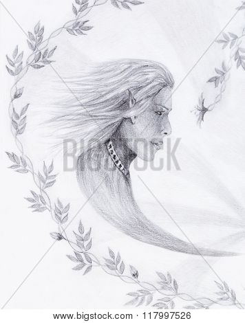 Hand drawing Elf  with beautiful flower. Draw on vintage paper. Profile portrait.