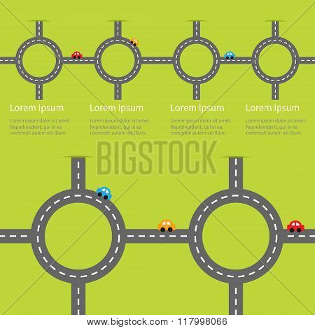 Road White Marking And Cartoon Cars. Circle Round Crossroad Set. Infographic Timeline Template.  Des
