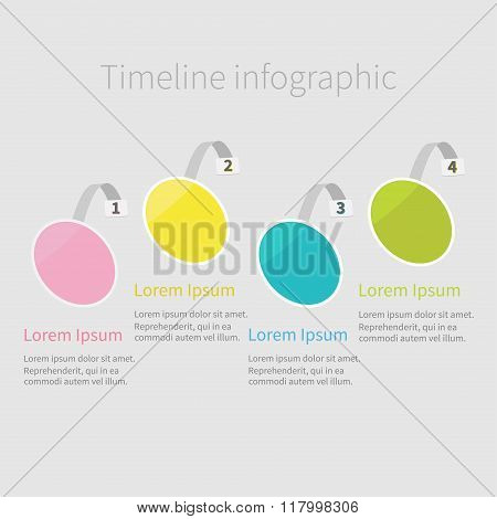 Infographic Timeline Four Step Round Circle Wobbler. Numbers. Template. Flat Design. White Backgroun