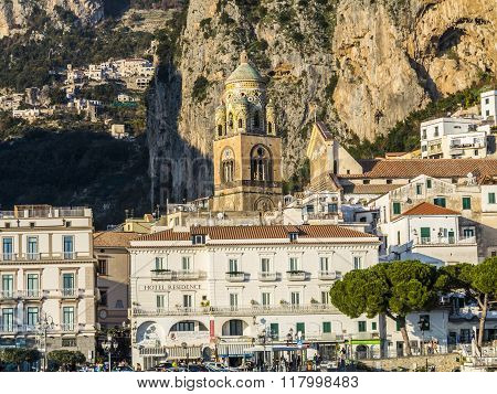 View Of The Coast Of The Resort Town Of Amalfi, Italy.