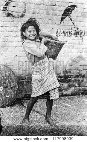 Young Nepalese Girl Carries Corn From Threshing In Her Basket