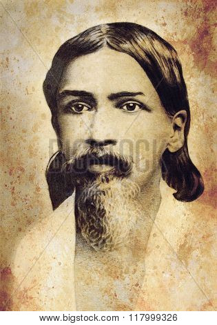 Sri Aurobindo Ghos Indian guru , Drawing on paper. Drawing according to an old photo. And old vintag