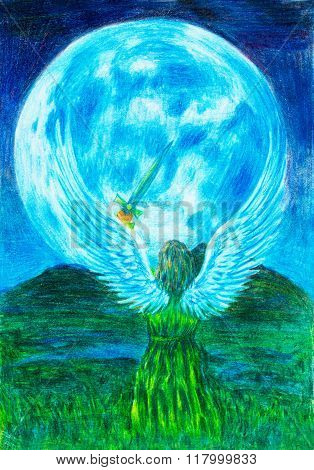 Angel holding sword in landscape, and moon in background. Original painting.