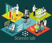 Science Lab Isomatric Design Flat poster