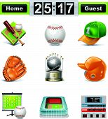 image of softball  - Set of the detailed baseball  - JPG