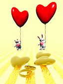 Valentine Animals And Balloons, Holiday Love.