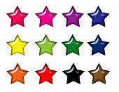 Постер, плакат: Красочные глянцевый звезды иконки