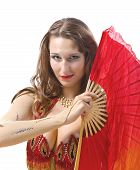 stock photo of fantail  - Beauty young woman dance with fantail  - JPG