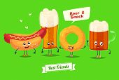 Постер, плакат: Set of beer characters Vector cute cartoons