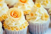 picture of sugar paste  - Cup cakes decorated with yellow sugar roses - JPG