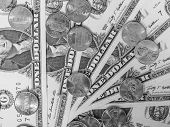 Постер, плакат: Black And White Dollar Coins And Notes