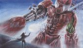 Постер, плакат: Fantasy Watercolor Landscape Big Red Robot Fights With A Person With Magical Powers Performed B