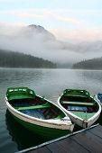 Boats On Mountain Lake