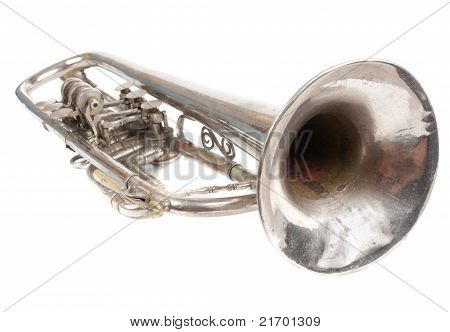 Old Retro Trumpet Isolated