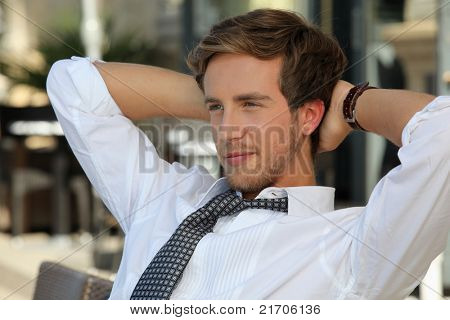 junior accountant having a break