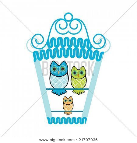 Owl family perched in birdhouse (new baby - family concept)