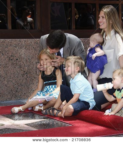 LOS ANGELES - JUL 29: Mark Wahlberg, wife Rhea Durham, their children Ella, Grace at a ceremony where Mark Wahlberg is honored with a star on the Hollywood Walk of Fame, California on July 29, 2010