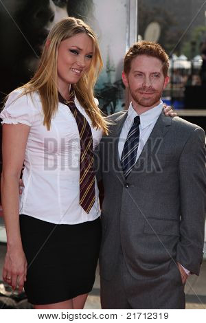 "NEW YORK, NY - JULY 11: Seth Green (R) and Clare Grant (L) arrive for the North American premiere of ""Harry Potter and the Deathly Hallows – Part 2"", July 11, 2011 at Lincoln Center in New York."