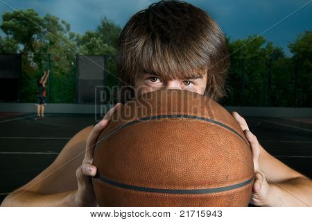 Closeup of a basketball player