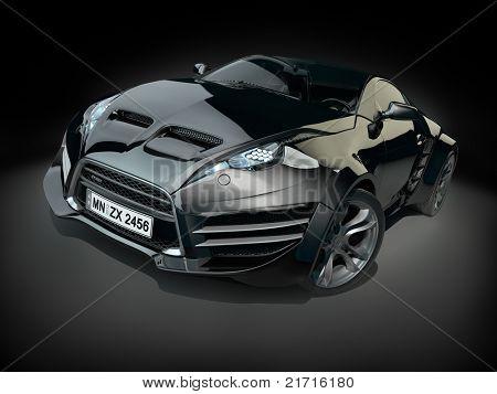 Black hybrid sports car on a black background. Non branded concept car.