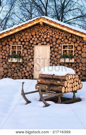 Ski Hut In Winter