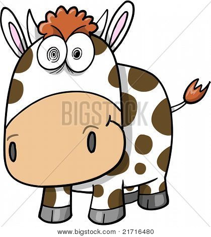 Crazy Insane Cow Vector Illustration