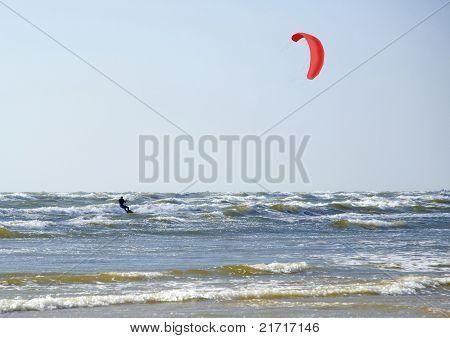 Jürmala (latvia). Surfing With A Parachute