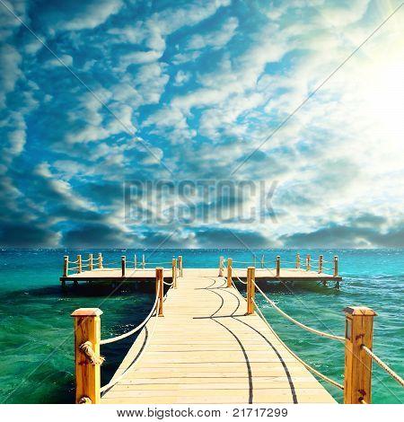 tropical wooden pier