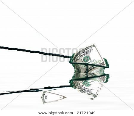 Fishing Net With Money And Water