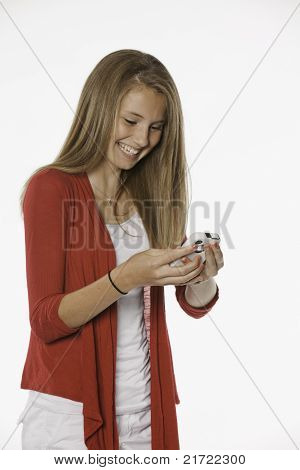 Laughing Teenage Female Girl And Cell Phone