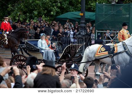 LONDON - JUNE 11: The Queen Elizabeth II & Prince Philip leaves Trooping the Color ceremony in London on June 11, 2011. Ceremony is performed by regiments on occasion of the Queen's Official Birthday