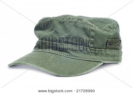 a green cap isolated on a white background