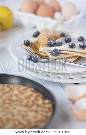 Freshly Prepared Crepes With Blueberries