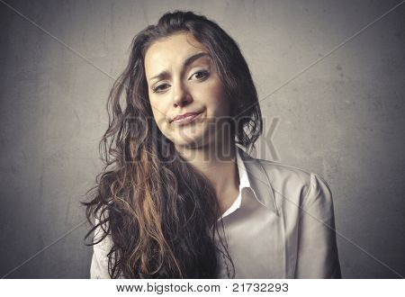 Woman with doubtful expression