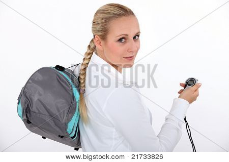 Woman with a pedometer
