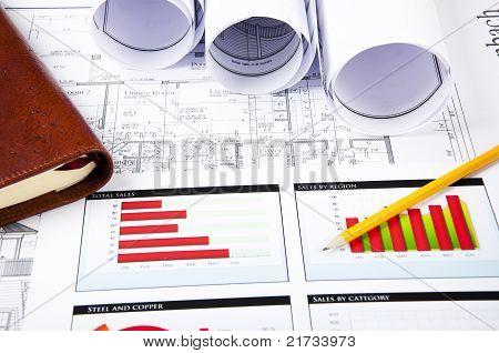 Pencil, Charts, Daily Log, Blueprint On Desktop