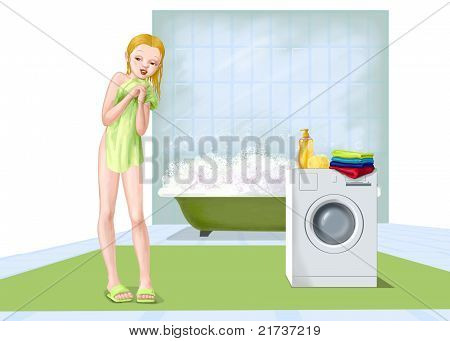Girl Washing In Bathroom
