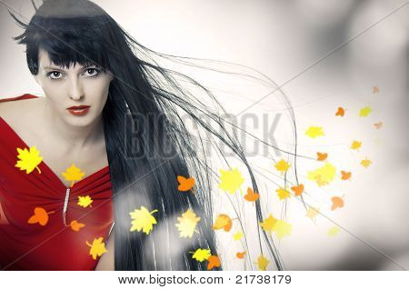 Beauty Girl With Developing Hair