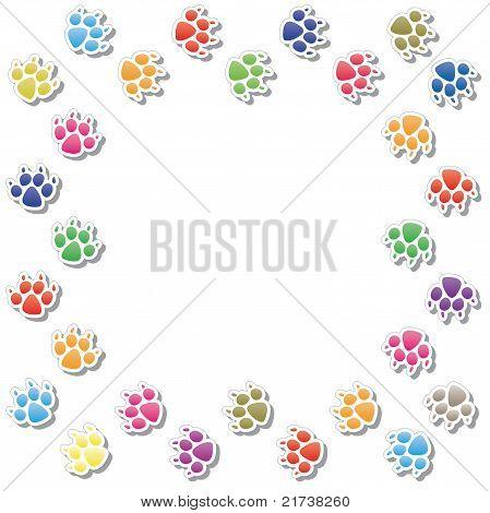 Frame Of Dog's Foot Prints